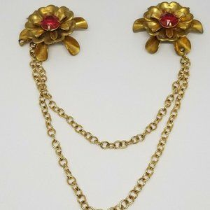Red Rhinestone Gold Tone Flower Chatelaine Brooch